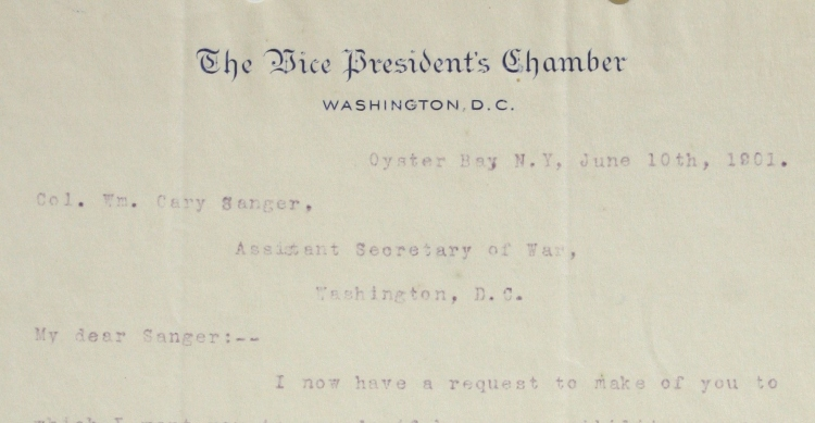 June 10, 1901 Typed Letter, Signed as Vice-President, to Col