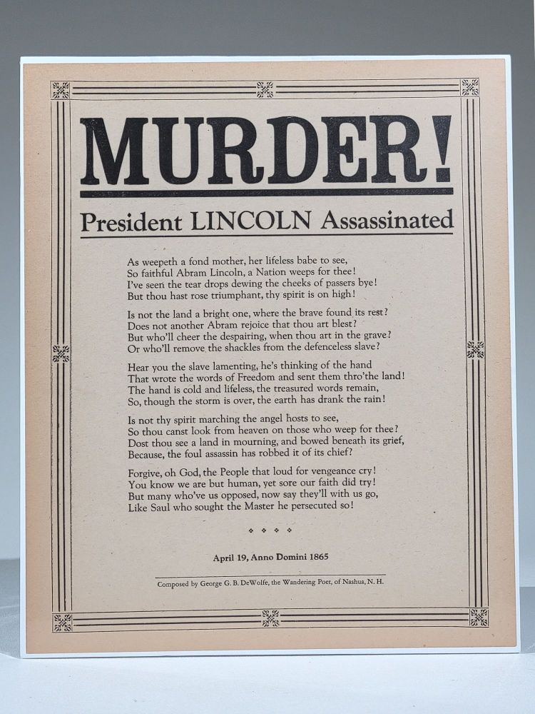 MURDER! President Lincoln Assassinated. George G. B. DeWolfe.