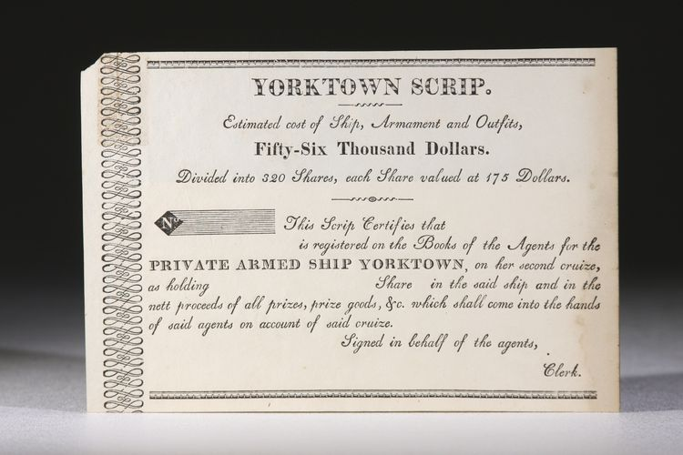 Yorktown Scrip, for Shares in Privateer During the War of 1812. War of 1812.