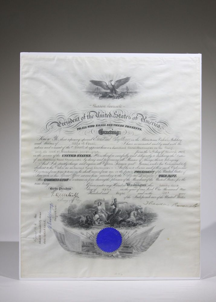Signed Naval Commission. Theodore Roosevelt.