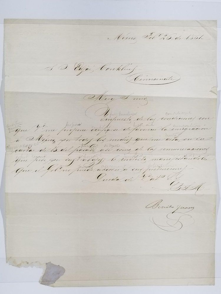 Signed Letter to Edgar Conkling of Cincinnati, Dated February 26, 1861, Mexico City. Benito Juárez.