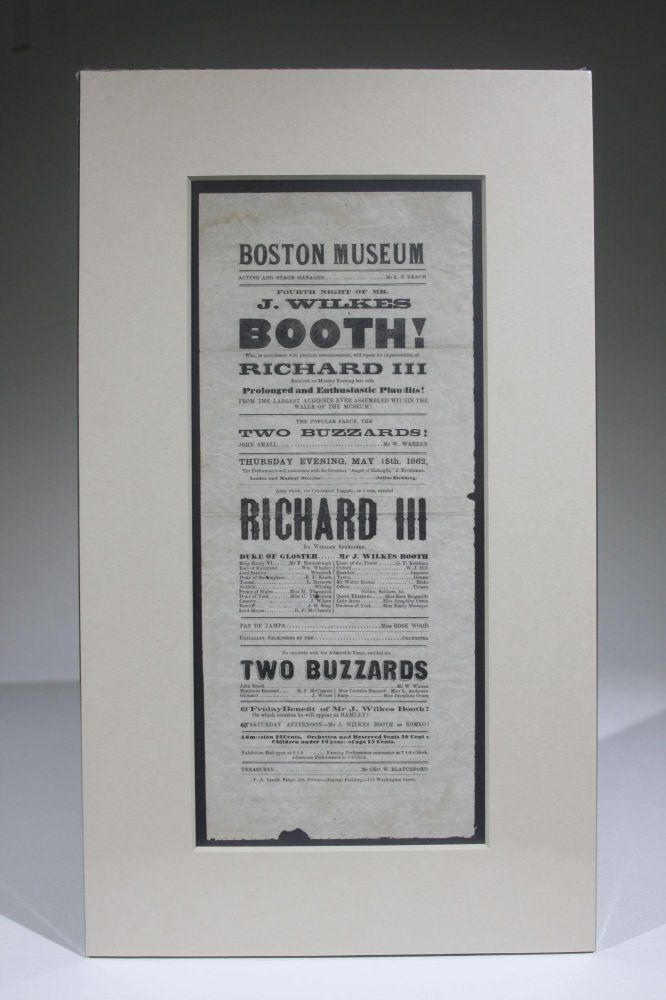 Boston Museum, Fourth Night of Mr. J. Wilkes Booth! as Richard III (Playbill for May 15, 1862). John Wilkes Booth.
