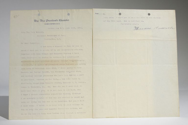 June 10, 1901 Typed Letter, Signed as Vice-President, to Col. William Cary Sanger Regarding the Acquaintance of Young College Men with Politics--Especially in Harvard. Theodore Roosevelt.