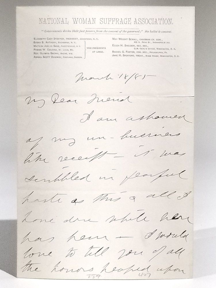 Autograph Letter to Elizabeth Cady Stanton, Discussing Anthony's Warm Reception in the South. Susan B. Anthony.