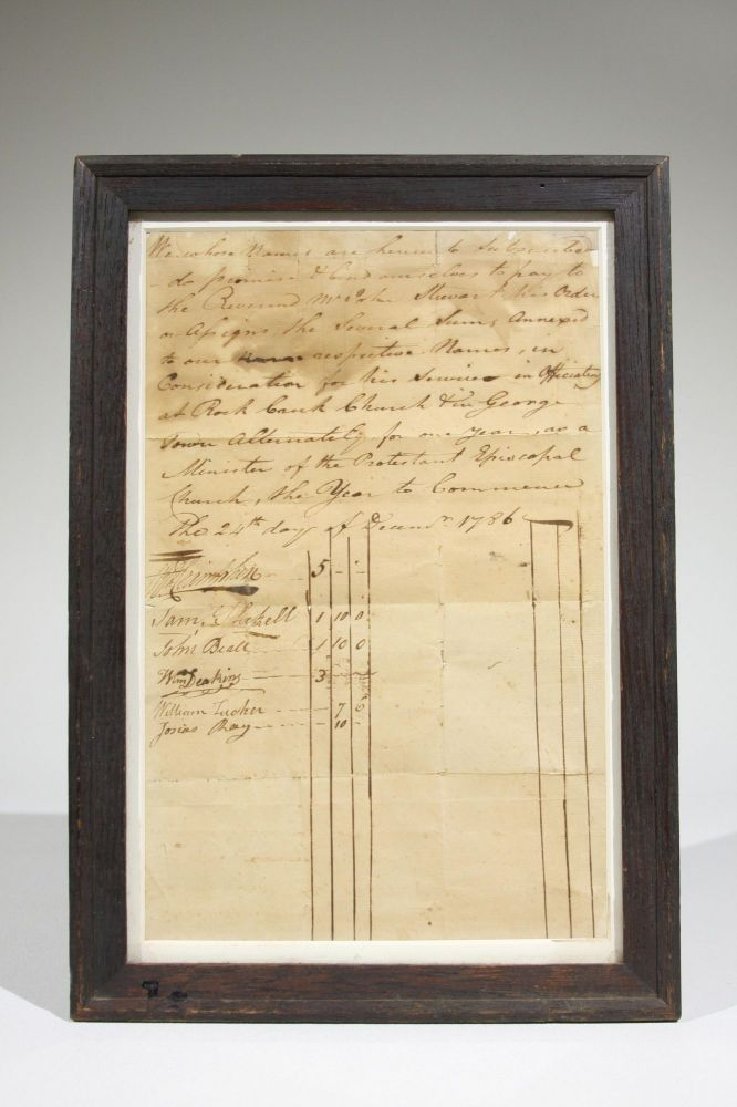 Manuscript Document to Engage the Services of Protestant Episcopal Minister Reverend John Stewart for the Year 1786. Georgetown, Samuel Shekell Thomas Cramphin, Josias Ray, William Deakins, John Beall.
