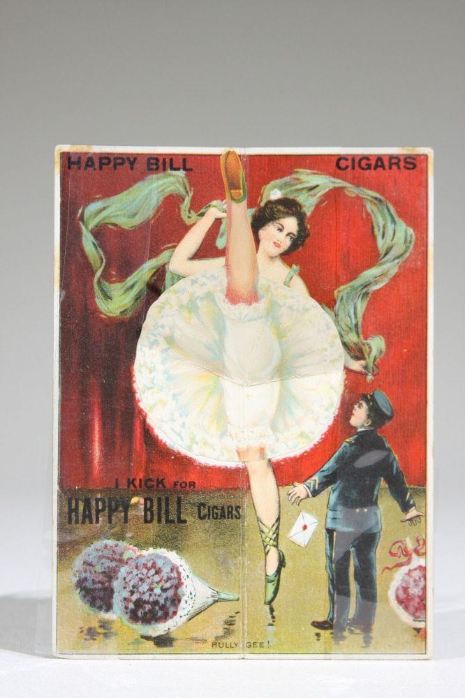 Compliments of Happy Bill Cigars. I Kick for Happy Bill Cigars. (Mechanical Cigar Trade Card). Advertising, Tobacco.