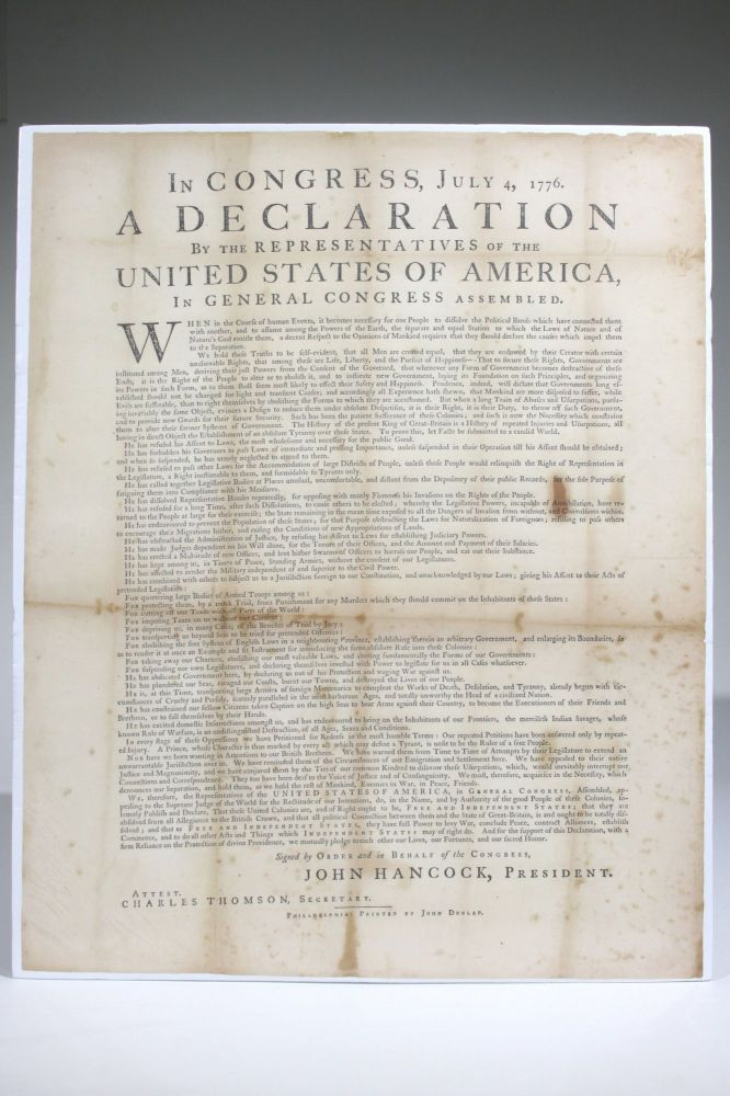 In Congress, July 4, 1776. A Declaration By the Representatives of the United States of America, in General Congress Assembled. Declaration of Independence.