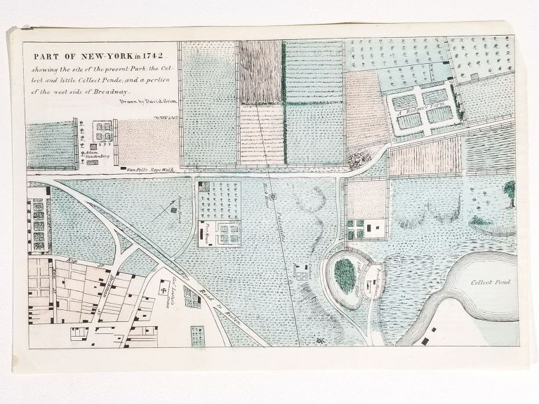 Part of New-York in 1742, Shewing the Site of the Present Park; the Collect and Little Collect Ponds; and a Portion of the West Side of Broadway. David Grim.
