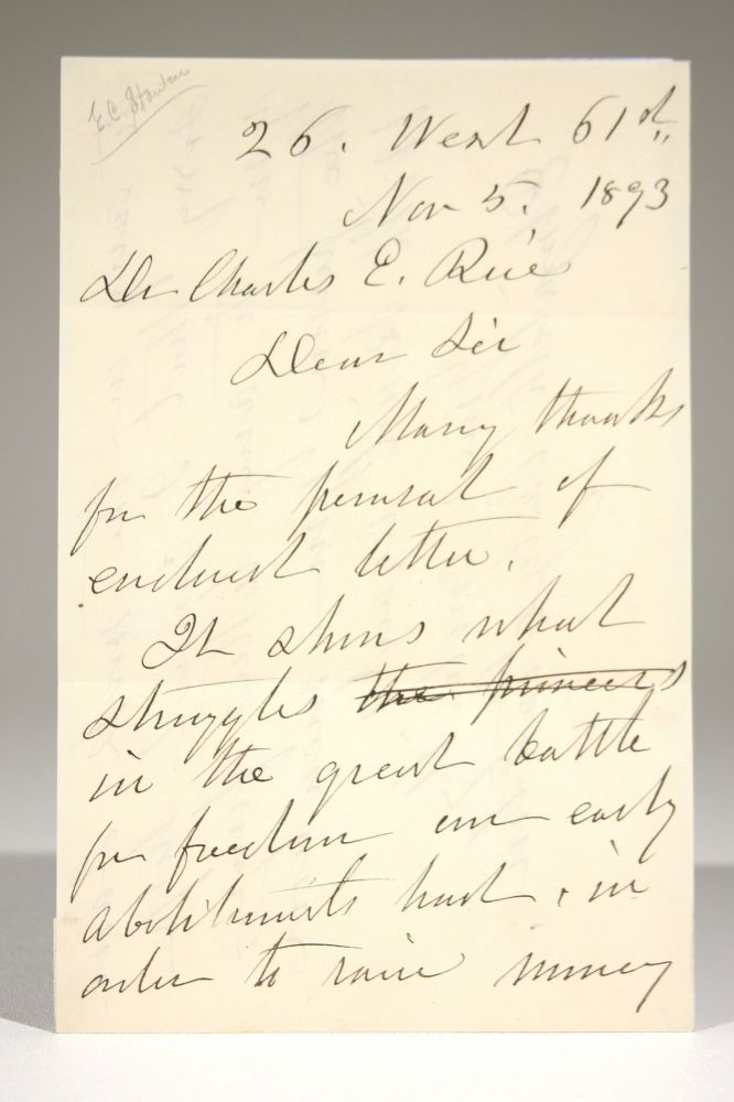 Autograph Letter to Dr. Charles E. Rice in Response to his Request for Letters. Elizabeth Cady Stanton.