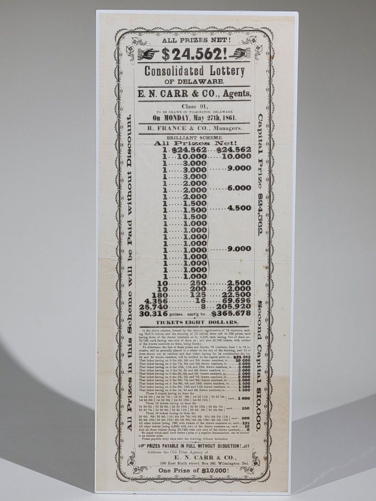 All Prizes Net! $24,562! Consolidated Lottery of Delaware. Delaware.
