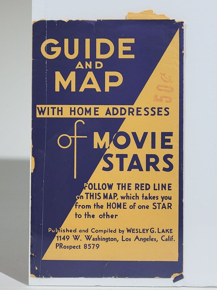 Souvenir Map and Guide to Starland Estates and Mansions...A Fascinating Trip Through Movieland. Wesley G. Lake.