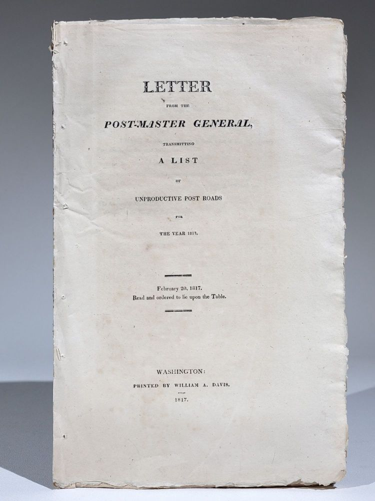 Letter from the Post-Master General, Transmitting a List of Unproductive Post Roads for the Year 1817. Return Jonathan Meigs, Jr.