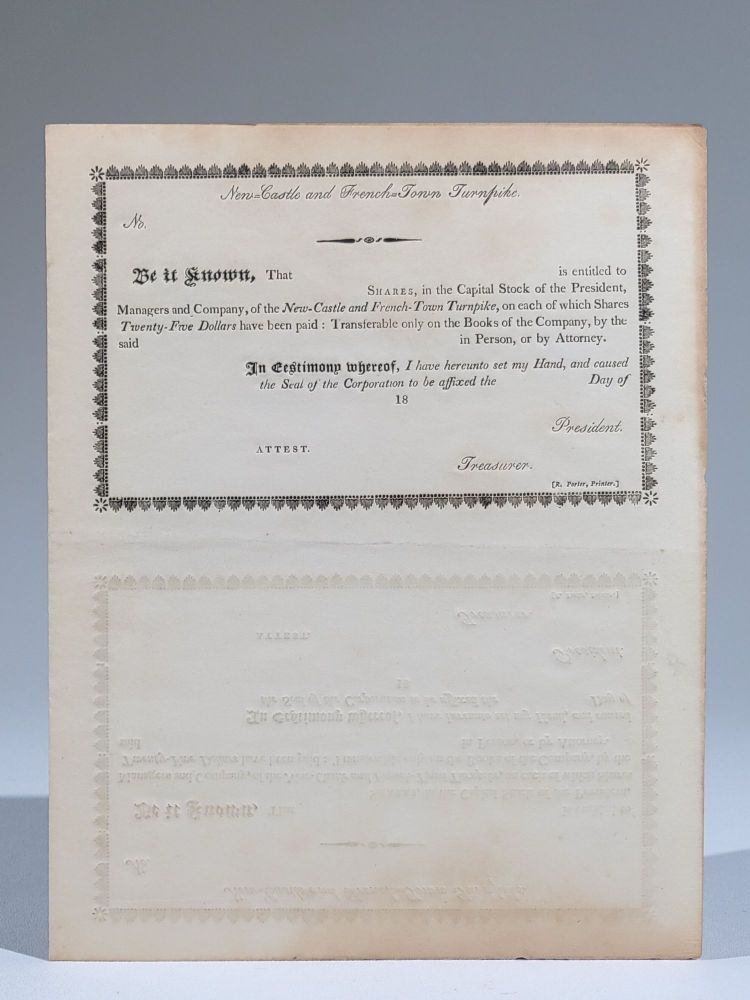 New-Castle and French-Town Turnpike Capital Stock Certificate (sheet of four). Delaware.