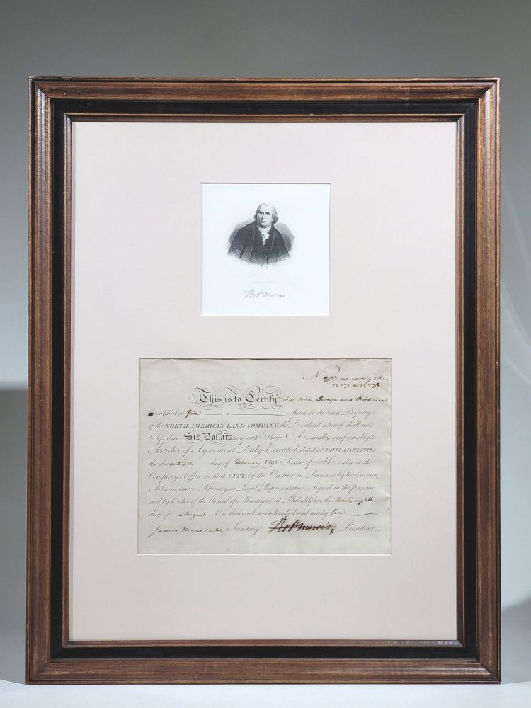 Signed Stock Certificate as President of the North American Land Company. Robert Morris.