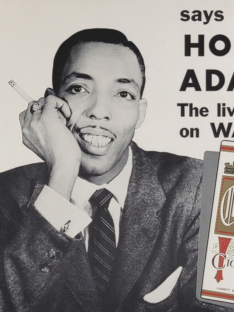 """Tastes Great, Smokes Mild! says Hoppy Adams, The Lively One on WANN. Poster for Chesterfield King Cigarettes. Charles W. """"Hoppy"""" Adams."""