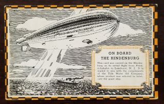 On Board the Hindenburg Postcard flown aboard the Hindenburg on her first flight between Germany...