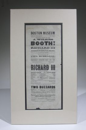 Boston Museum, Fourth Night of Mr. J. Wilkes Booth! as Richard III (Playbill for May 15, 1862)....