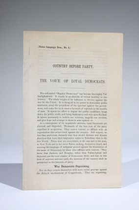 Country Before Party. The Voice of Loyal Democrats [Union Campaign Docs., No. 4