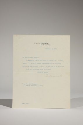 October 1, 1901 Typed Letter, Signed, to William Cary Sanger, Acting Secretary of War, Regarding...