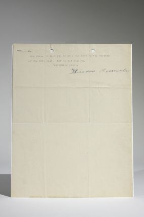 June 10, 1901 Typed Letter, Signed as Vice-President, to Col. William Cary Sanger Regarding the Acquaintance of Young College Men with Politics--Especially in Harvard
