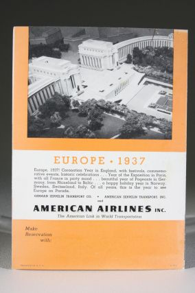 """Now..Fly to Europe! Via Airship """"Hindenburg"""" and American Airlines Inc."""