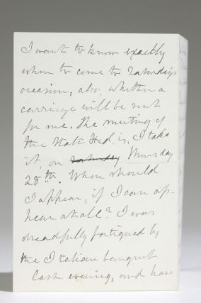 Autograph Letter Discussing Speaking Engagements, Consequent Fatigue