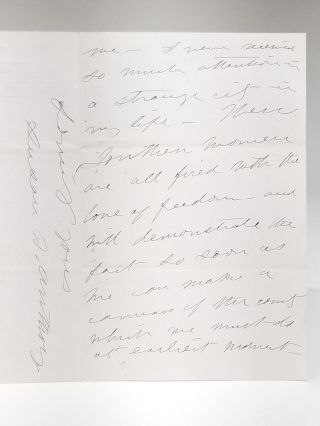 Autograph Letter to Elizabeth Cady Stanton, Discussing Anthony's Warm Reception in the South