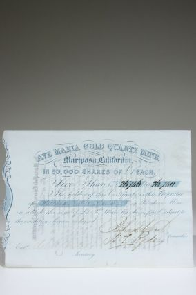 Stock Certificate for Five Shares in the Ave Maria Gold Quartz Mine, Mariposa, California. Gold...