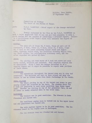 CONFIDENTIAL Log of Salvage Operations, U.S.S. Wakefield