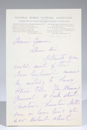 Autograph Letter, Signed, on National Woman Suffrage Association Stationery. Elizabeth Cady Stanton