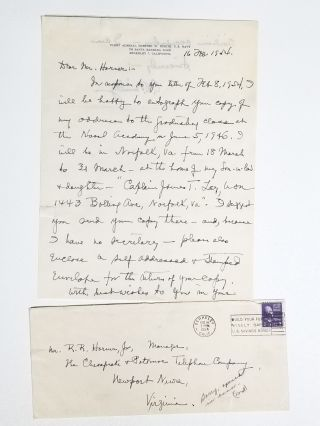 Holograph Letter, Signed Address Delivered Before the Graduating Class, United States Naval Academy, June 5, 1946, and Other Items Related to the Accelerated 1946 Graduation of the USNA Class of 1947