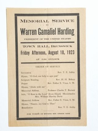 Memorial Service to Warren Gamaliel Harding, President of the United States. Warren Gamaliel Harding