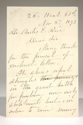 Autograph Letter to Dr. Charles E. Rice in Response to his Request for Letters. Elizabeth Cady...