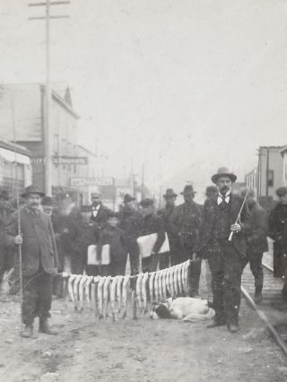 1899 Photograph of Trout Fishermen with their Catch in Downtown Skagway, Alaska. Alaska, Klondike