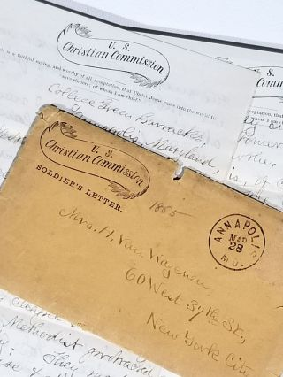 """""""Annapolis is, of course, a secesh town..."""" Autograph Letter Signed, from U.S. Christian Commission Agent to His Mother, Describing His Activitites. Dateline """"College Green Barracks, Annapolis, Maryland, March 27th, 1865,"""" Postmarked Annapolis, Mar 28, 1865"""