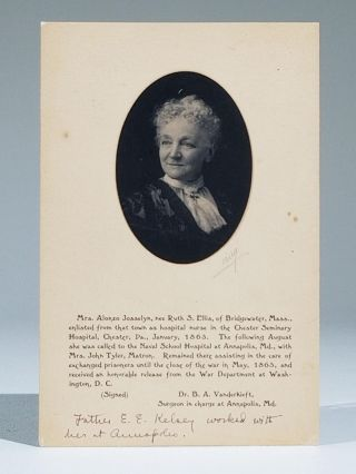 Annapolis Civil War Nurse, Photographic Portrait Mounted on Printed Card. Ruth S. Ellis, Mrs....