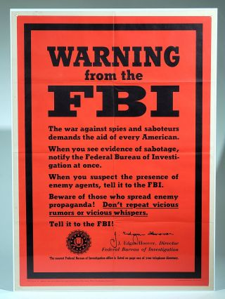 Warning from the FBI (OWI Poster No. 74). . Edgar Hoover, ohn, Office of War Information