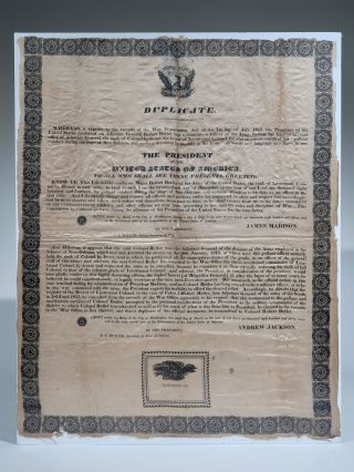 Presidential Order Printed on Silk, 1837. Andrew Jackson