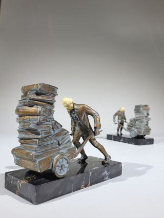 Load of Books: Pair of Gray Metal Bookends on Marble Bases. J B. Hirsch Foundry