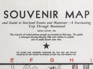Souvenir Map and Guide to Starland Estates and Mansions...A Fascinating Trip Through Movieland