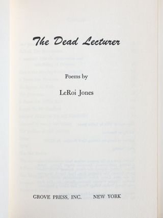 The Dead Lecturer: Poems