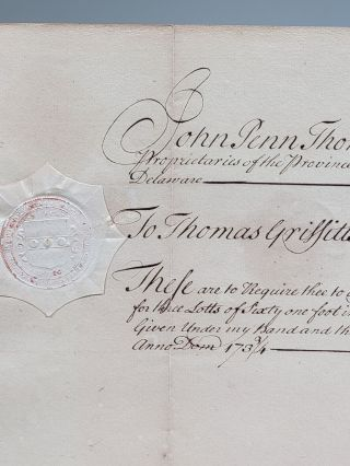 Manuscript Warrant, Signed, Requesting the Great Seal of the Province of Pennsylvania be Affixed to a Land Patent in Philadelphia