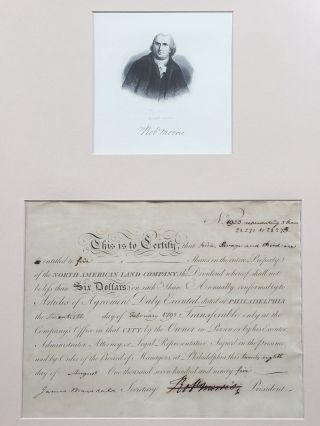Signed Stock Certificate as President of the North American Land Company