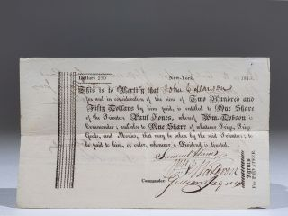 Scrip for One Share in Privateer Paul Jones During the War of 1812