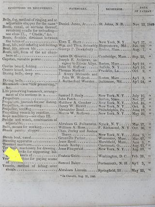 Report of the Commissioner of Patents, for the Year 1849. Part I. Arts and Manufactures [includes patent No. 6469 issued to Abraham Lincoln]