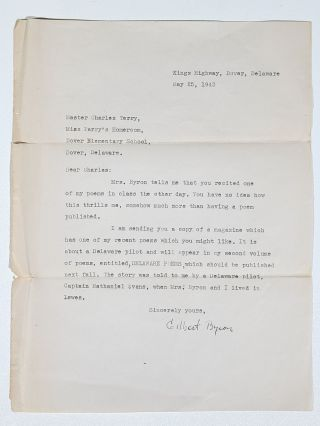 These Chesapeake Men (Signed), with Typed Letter Signed by Byron